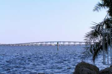 The Caloosahatchee River, flowing between Cape Coral and Fort Myers out to the Gulf of Mexico. (Pic)