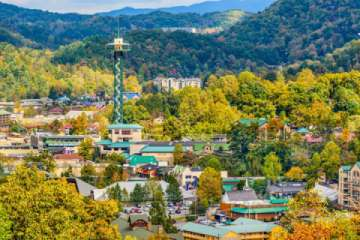 A glimpse of the fall colors in Gatlinburg and the Space Needle with a beautiful mountain view. (Pic)